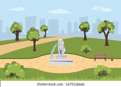 Park with fountain in cartoon style. Landscape with trees, bushes and grass. Parkland with lion statue on road. Outdoor nature background. Vector illustration