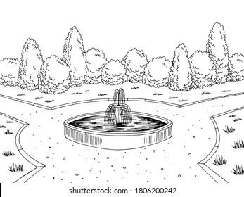 Park fountain graphic black white city landscape sketch illustration vector