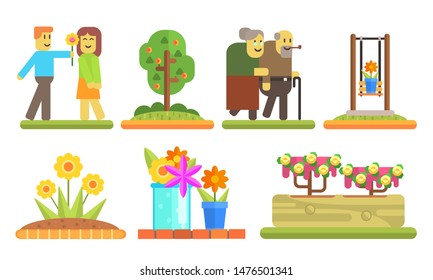 Park and Garden Elements Set, Young Man Giving Flower to Girl, Senior Couple Walking Together, Flowerbeds and Pots with Blooming Flowers Vector Illustration