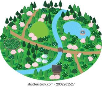 A park garden with a lush stream and a pond