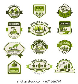 Park, green city garden, eco landscape design, forest nature badge set. Green tree with decorative grass lawn isolated icon for ecology, landscaping, greenhouse and eco friendly business theme design