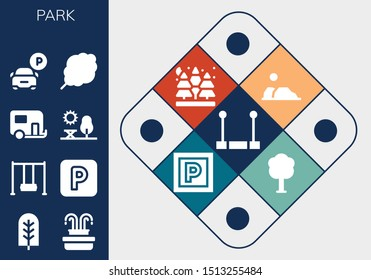 park icon set. 13 filled park icons.  Collection Of - Trapeze, Tree, Fountain, Swing, Parking, Caravan, Park, Cotton candy, Desert, Spruce icons