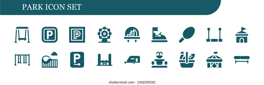 park icon set. 18 filled park icons.  Collection Of - Swing, Parking, Ferris wheel, City, Bumper car, Cotton candy, Trapeze, Circus, Roller coaster, Trampoline, Caravan, Fountain