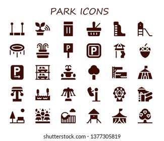 park icon set. 30 filled park icons.  Simple modern icons about  - Trapeze, Tree, Inflatable, Picnic, Waterpark, Playground, Trampoline, Fountain, Parking, Slide, Acorn, Parkings