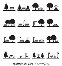 Park Icons. Black Flat Design. Vector Illustration.