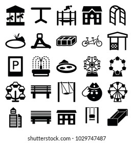 Park icons. set of 25 editable filled park icons such as garden bench, parking, house, soldier emot, carousel, ferris wheel, bench, table, gazebo, playground ladder, pond