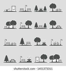 Park Icons. Sticker Design. Vector Illustration.