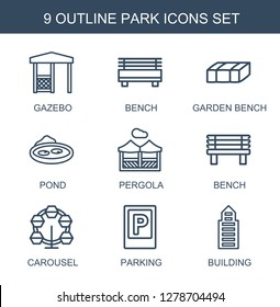 park icons. Trendy 9 park icons. Contain icons such as gazebo, bench, garden bench, pond, pergola, carousel, parking, building. park icon for web and mobile.