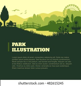 Park illustration background, colored silhouettes elements, flat