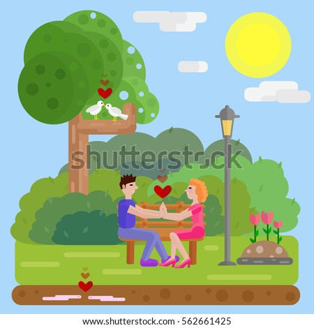 Park Landscape Daylight Love Concept Two Stock Vector Royalty Free