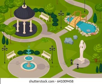 Park landscape isometric design composition with gazebo statue fountain lake walking path vector illustration
