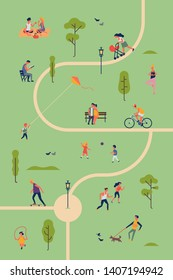 Park life concept design with park trails and people enjoying theirselves in a park. People walking, relaxing, having fun and playing in a park