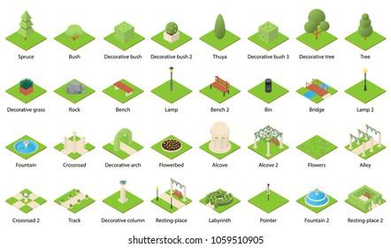 Park nature elements landscape design icons set. Isometric illustration of 32 park nature elements landscape vector icons for web