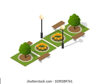 Park nature with trees landscape isometric city with benches and lanterns