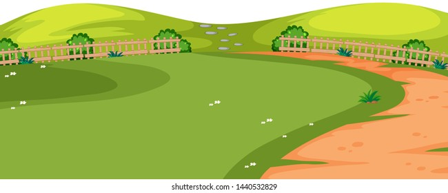 Park with path foreground illustration