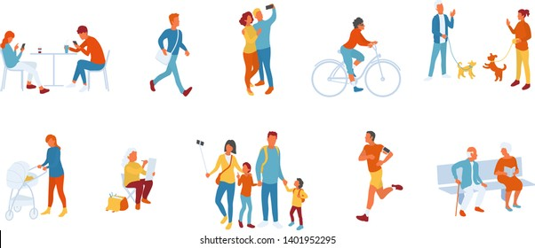 Park people set, people spending time outdoors. Men and women, young and elderly. People walking, training, interacting, using smarphones. Healthy lifestyle outdoors. Vector character set isolated