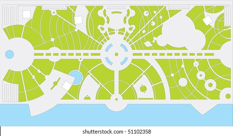 Park plan with river. There are central avenue, pathes, pools ann grass.