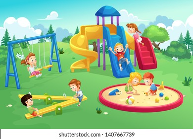 Park and playground cartoon, vector art and illustration.