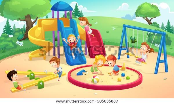 Парк и детская площадка мультфильм, векторное искусство и иллюстрация.