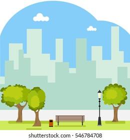 Park, a public park, bench, trees, vacation, street, grass, walk. Flat design, vector illustration, vector.