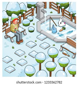 Park in wintertime covered with snow, freezing man with ice cream sitting on bench, bunny ice fishing (vector illustration)