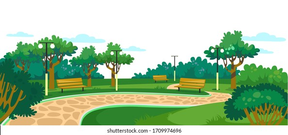 Park with wooden benches, lawn and green trees vector illustration. Walkway with bushes and lanterns cartoon design. Place for family rest and nature concept