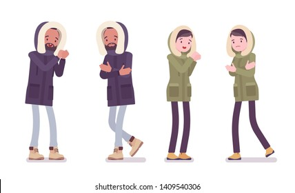 Parka man and woman shivering feeling cold. Young guy and girl wearing warm windproof jacket with hood, cold weather city outfit. Vector flat style cartoon illustration isolated on white background