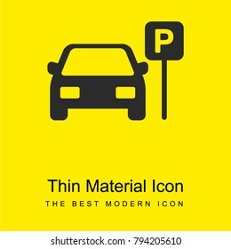 Parked Car bright yellow material minimal icon or logo design
