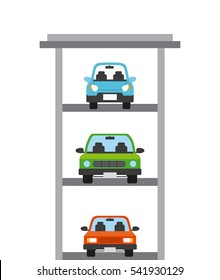 parked cars on parking zone tower over white background. colorful design. vector illustration