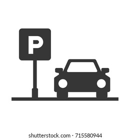 Parking Area Sign with Car on White Background. Vector