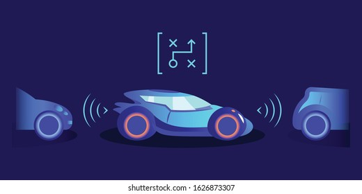 Parking assistance flat color vector illustration. Smart automobile with innovative helping system on blue background. Futuristic autonomous transport equipped with sensors for safe parking