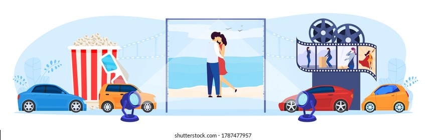 Parking car cinema concept vector illustration. Cartoon flat tiny driver people sitting in automobiles, watching movies at big festival screen in outdoor auto open air cinema theater isolated on white