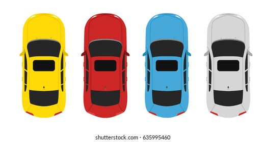 Parking color set cars above view