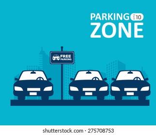 Parking design over blue background, vector illustration.
