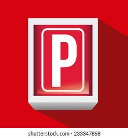 Parking design over red background, vector illustration.