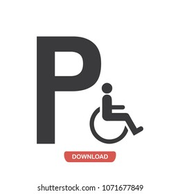 Parking disabled persons vector icon