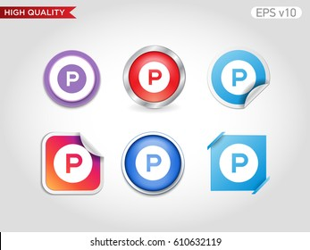 Parking icon. Button with parking icon.