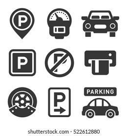 Parking Icon Set on White Background. Vector