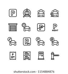 Parking icons. Car garage and parking line vector symbols. Automobile service park, zone place parking illustration