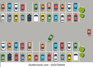 Parking lot illustration - vector car park infrastructure graphics.
