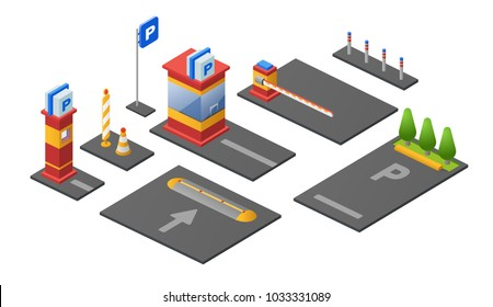 Parking lot isometric 3D vector illustration icons of checkpoint ticket booth or parkomat barrier, car lots and direction marking signs. Isolated sections outdoor parking on white background