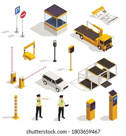 Parking isometric set with traffic signs meter  entrance ticket police officer tow truck evacuator booth vector illustration