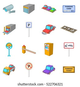 Parking items icons set. Cartoon illustration of 16 parking items vector icons for web