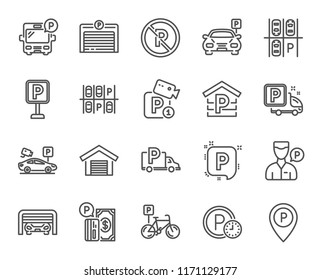 Parking line icons. Set of Garage, Valet servant and Paid parking linear icons. Video monitoring, Bike or Car park and Truck or Bus stopping symbols. Money, Map pointer and Free park place. Vector