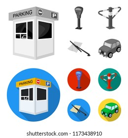 A parking lot, a parking meter, a check for services, a barrier. Parking zone set collection icons in monochrome,flat style vector symbol stock illustration web.