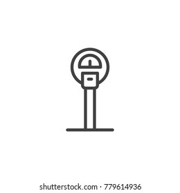 Parking meter line icon, outline vector sign, linear style pictogram isolated on white. Symbol, logo illustration. Editable stroke