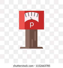 Parking meter vector icon isolated on transparent background, Parking meter logo concept