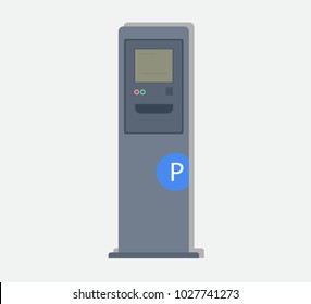 Parking meters.Parking lot with authorized parking machine.Self service parking pay.