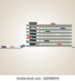 Parking. Multi-level parking. Vector illustration