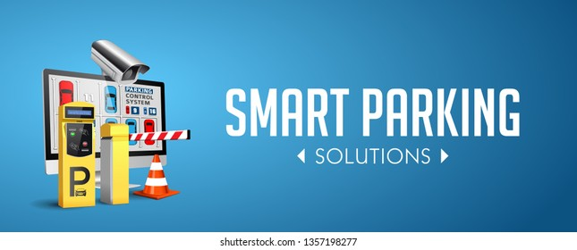 Parking payment station - access control concept - website banner
